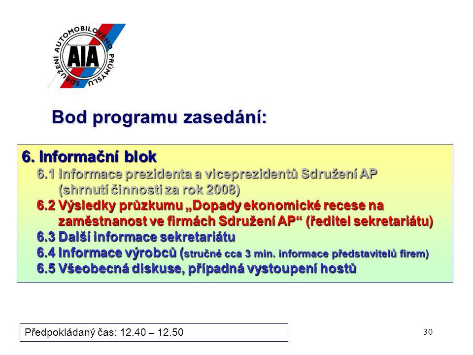 30 Bod programu zasedání: Předpokládaný čas: 12.40 – 12.50 6.