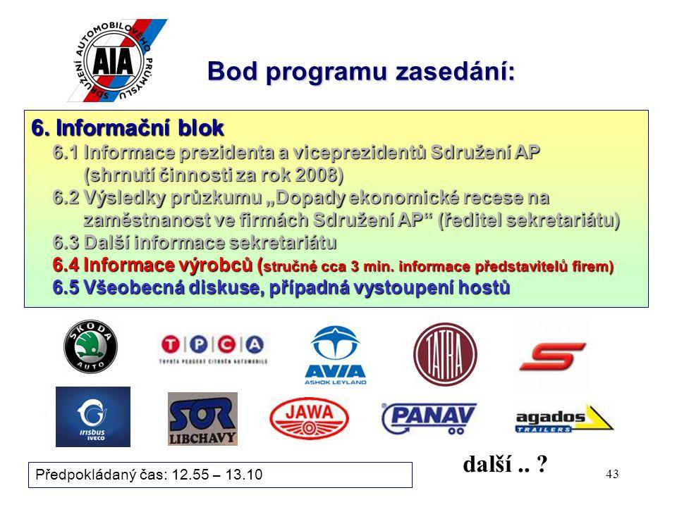 43 Bod programu zasedání: Předpokládaný čas: 12.55 – 13.10 další..