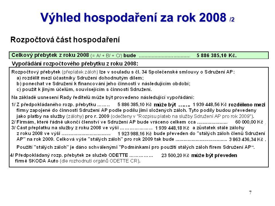 7 Výhled hospodaření za rok 2008 /2 Rozpočtová část hospodaření