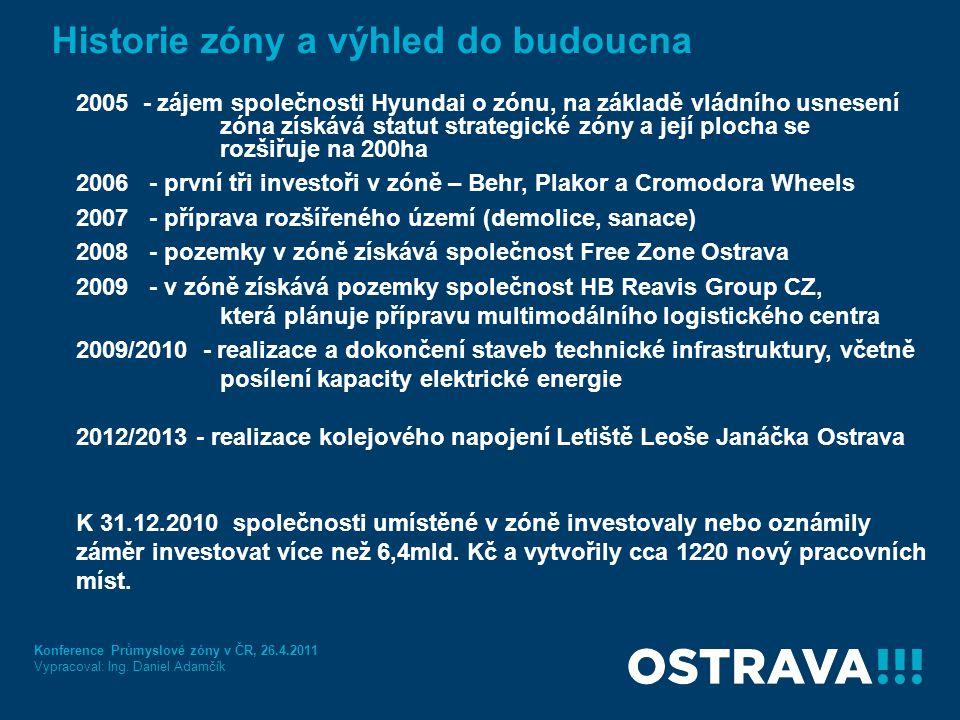 Historie zóny a výhled do budoucna 2005 - zájem společnosti Hyundai o zónu, na základě vládního usnesení zóna získává statut strategické zóny a její p