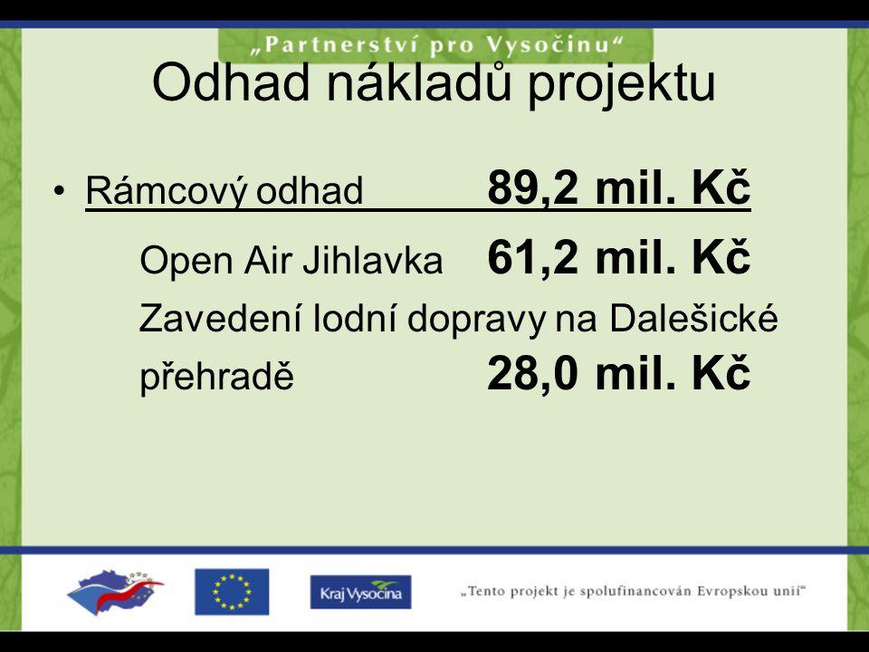 Odhad nákladů projektu Rámcový odhad 89,2 mil. Kč Open Air Jihlavka 61,2 mil. Kč Zavedenílodní dopravy na Dalešické přehradě 28,0 mil. Kč