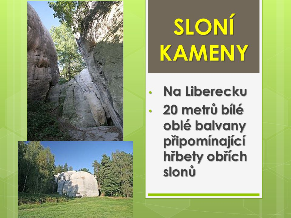 SLONÍ KAMENY Na Liberecku Na Liberecku 20 metrů bílé oblé balvany připomínající hřbety obřích slonů 20 metrů bílé oblé balvany připomínající hřbety ob