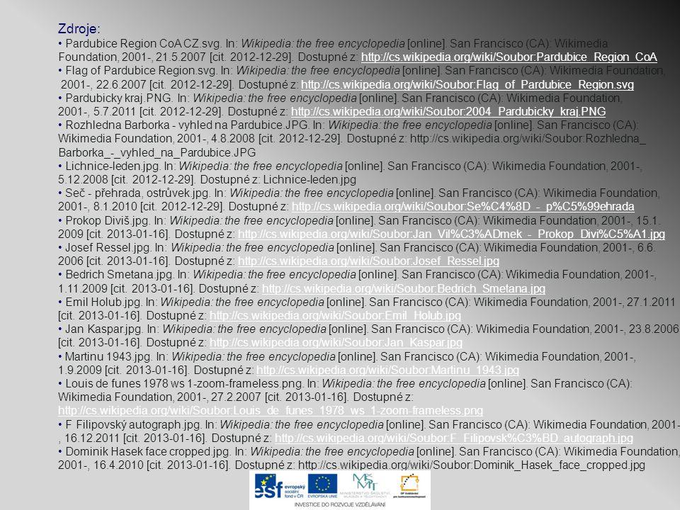 Zdroje: Pardubice Region CoA CZ.svg. In: Wikipedia: the free encyclopedia [online]. San Francisco (CA): Wikimedia Foundation, 2001-, 21.5.2007 [cit. 2