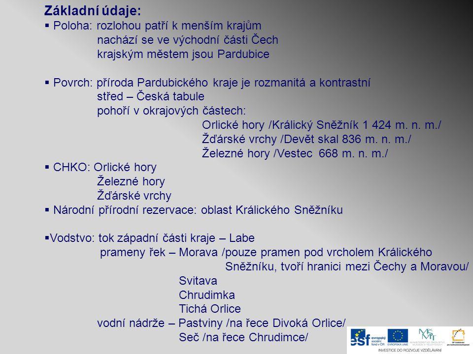 Základní údaje:  Poloha: rozlohou patří k menším krajům nachází se ve východní části Čech krajským městem jsou Pardubice  Povrch: příroda Pardubické