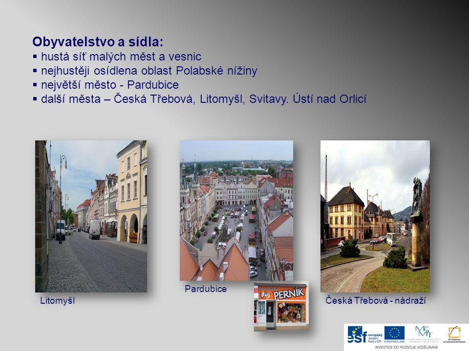 Obyvatelstvo a sídla:  hustá síť malých měst a vesnic  nejhustěji osídlena oblast Polabské nížiny  největší město - Pardubice  další města – Česká