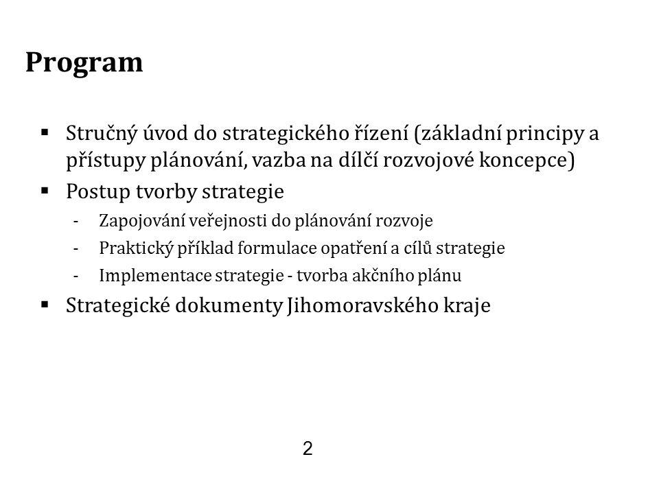 2 Program  Stručný úvod do strategického řízení (základní principy a přístupy plánování, vazba na dílčí rozvojové koncepce)  Postup tvorby strategie