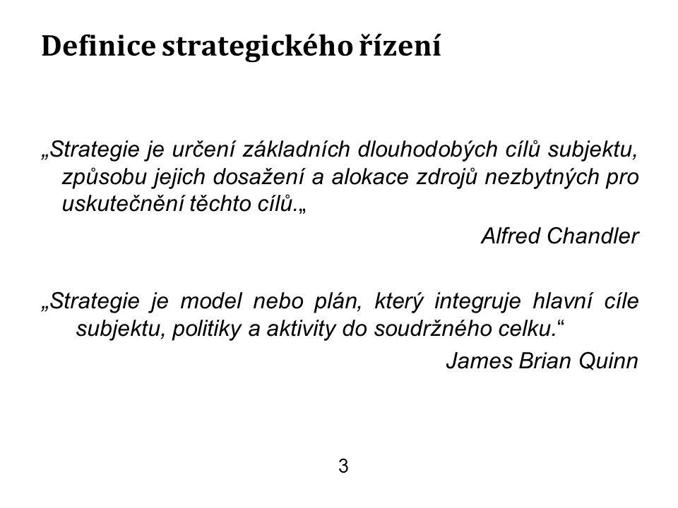 """""""Strategie je určení základních dlouhodobých cílů subjektu, způsobu jejich dosažení a alokace zdrojů nezbytných pro uskutečnění těchto cílů."""" Alfred C"""