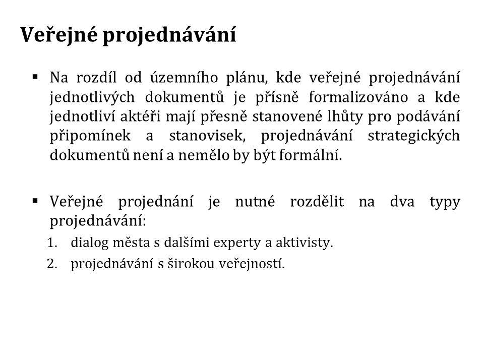 Veřejné projednávání  Na rozdíl od územního plánu, kde veřejné projednávání jednotlivých dokumentů je přísně formalizováno a kde jednotliví aktéři ma