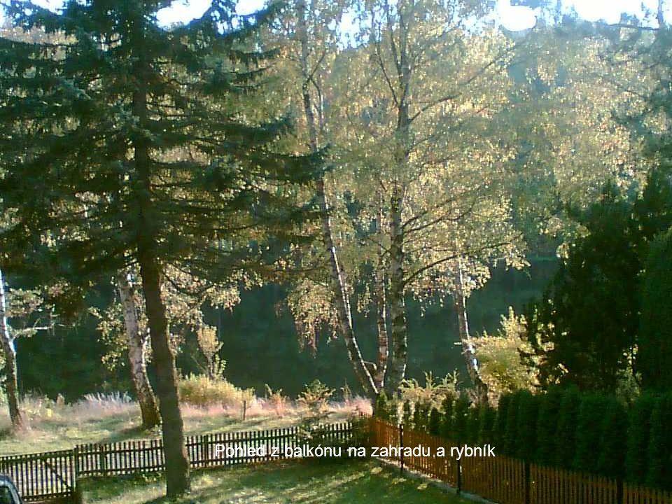 Pohled z balkónu na zahradu a rybník