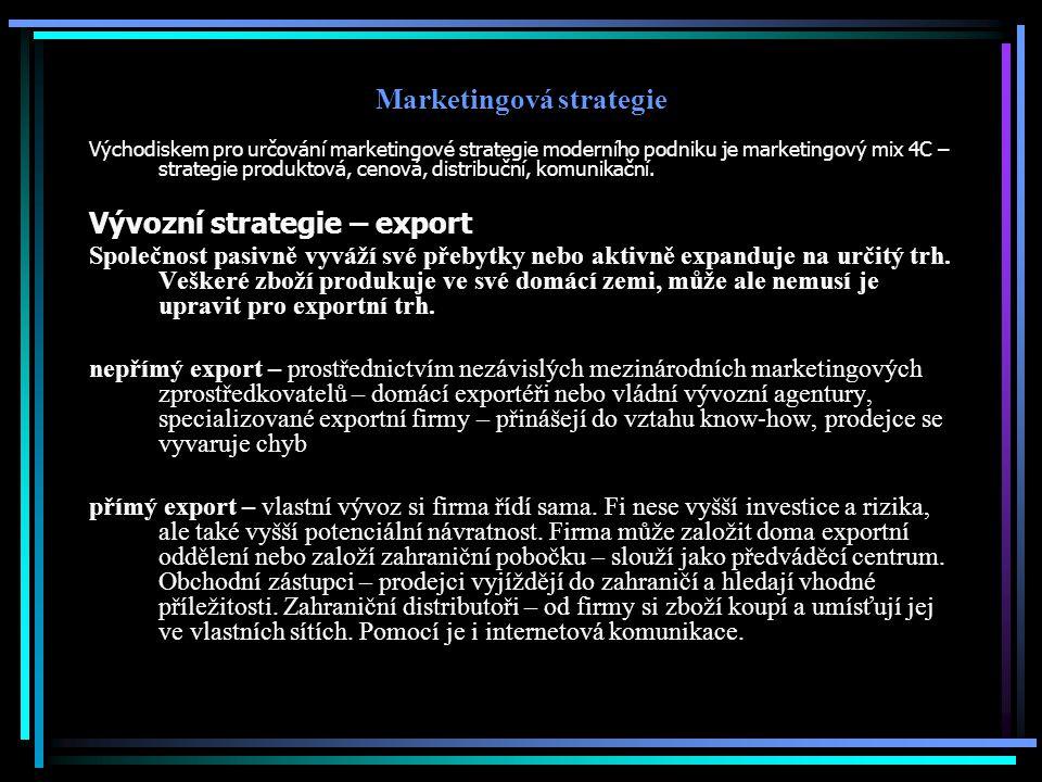 Marketingová strategie Východiskem pro určování marketingové strategie moderního podniku je marketingový mix 4C – strategie produktová, cenová, distri