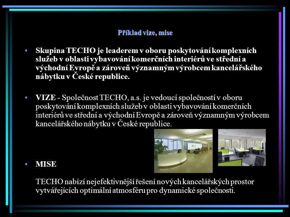 Příklad vize, mise Skupina TECHO je leaderem v oboru poskytování komplexních služeb v oblasti vybavování komerčních interiérů ve střední a východní Evropě a zároveň významným výrobcem kancelářského nábytku v České republice.