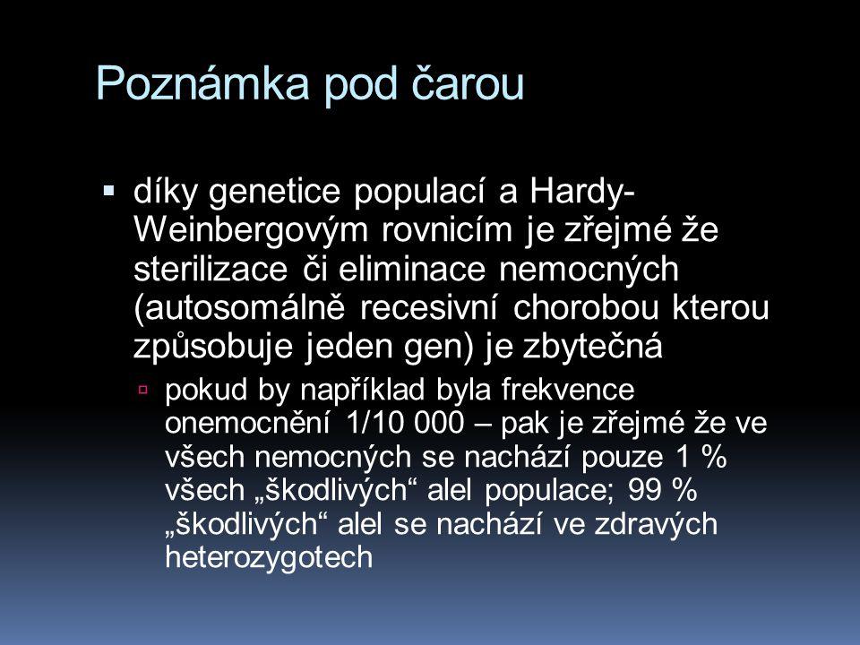 Poznámka pod čarou  díky genetice populací a Hardy- Weinbergovým rovnicím je zřejmé že sterilizace či eliminace nemocných (autosomálně recesivní chor