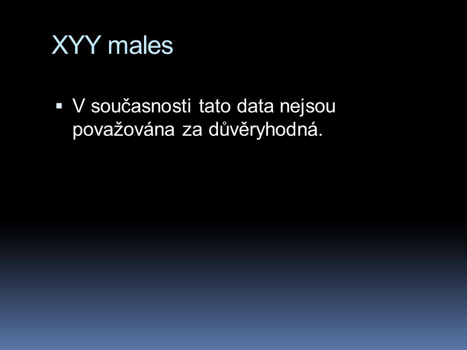 XYY males  V současnosti tato data nejsou považována za důvěryhodná.