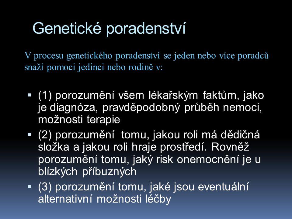 Genetické poradenství  (1) porozumění všem lékařským faktům, jako je diagnóza, pravděpodobný průběh nemoci, možnosti terapie  (2) porozumění tomu, j