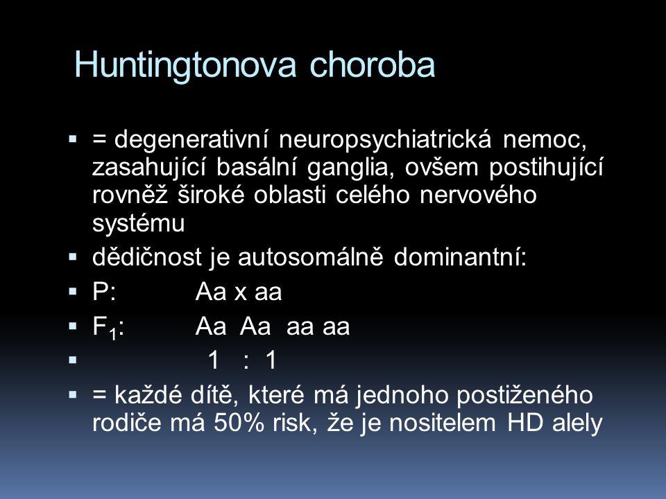 Huntingtonova choroba  = degenerativní neuropsychiatrická nemoc, zasahující basální ganglia, ovšem postihující rovněž široké oblasti celého nervového