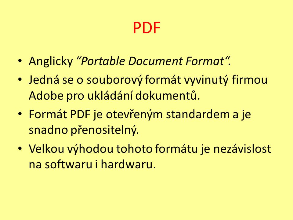 PDF Anglicky Portable Document Format .
