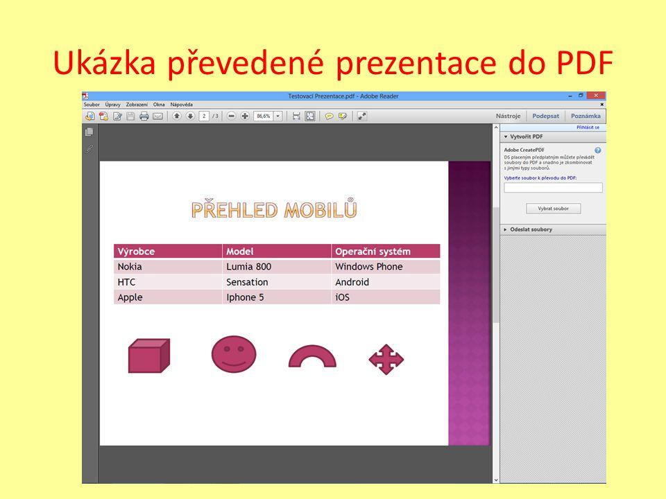 Úkol Vytvořte přesně prezentaci, podle následující předlohy. Poté prezentaci uložte jako PDF.
