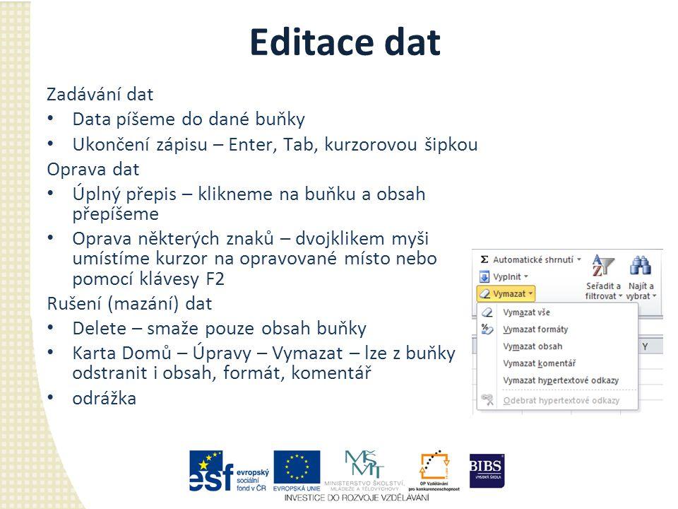 Editace dat Zadávání dat Data píšeme do dané buňky Ukončení zápisu – Enter, Tab, kurzorovou šipkou Oprava dat Úplný přepis – klikneme na buňku a obsah