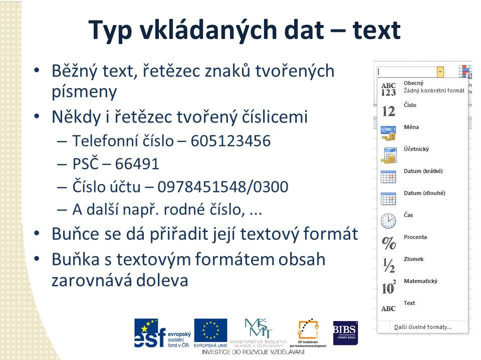 Typ vkládaných dat – text Běžný text, řetězec znaků tvořených písmeny Někdy i řetězec tvořený číslicemi – Telefonní číslo – 605123456 – PSČ – 66491 –