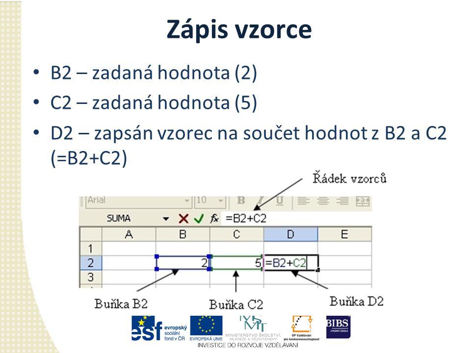 Zápis vzorce B2 – zadaná hodnota (2) C2 – zadaná hodnota (5) D2 – zapsán vzorec na součet hodnot z B2 a C2 (=B2+C2)