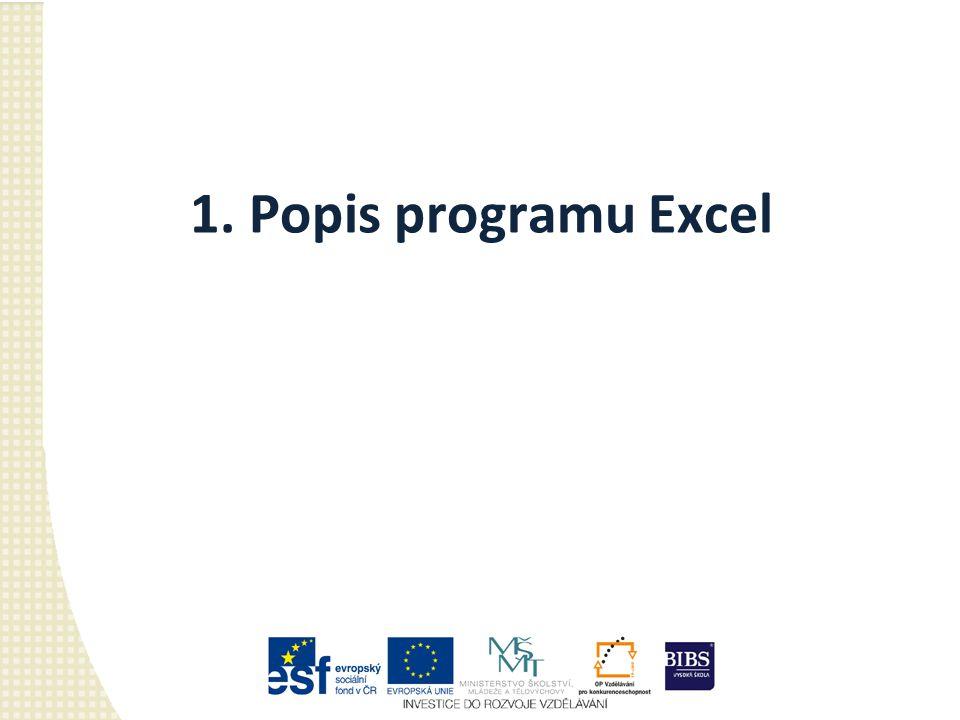 1. Popis programu Excel