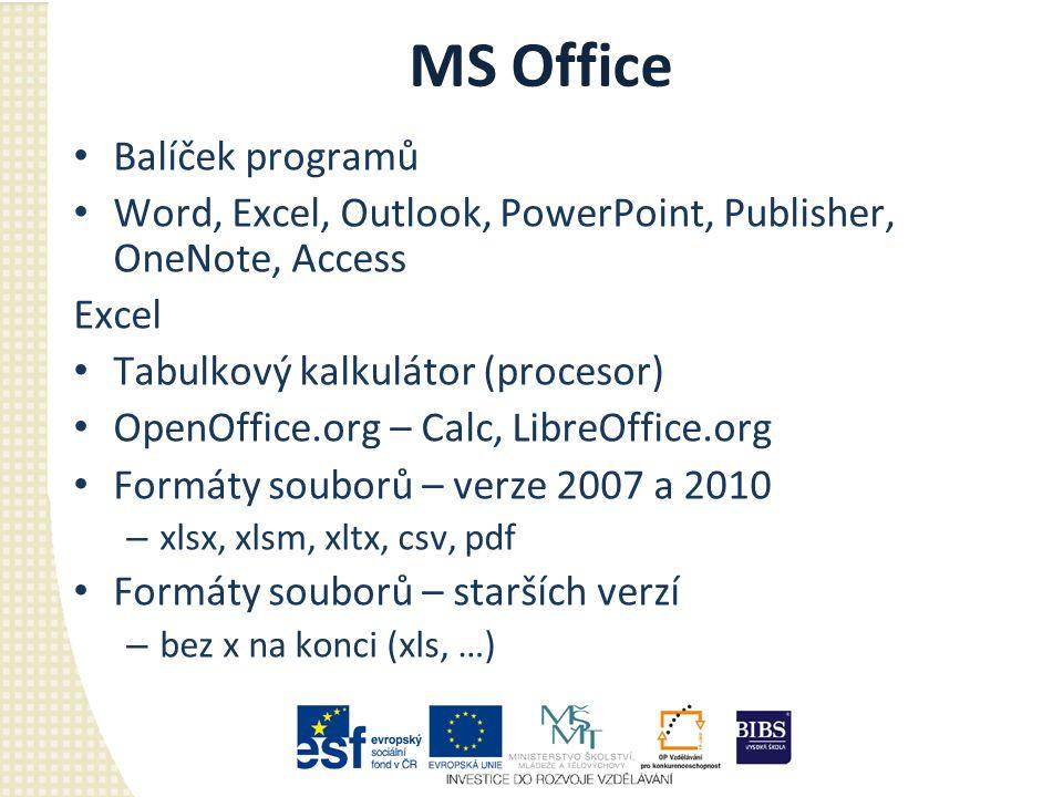 MS Office Balíček programů Word, Excel, Outlook, PowerPoint, Publisher, OneNote, Access Excel Tabulkový kalkulátor (procesor) OpenOffice.org – Calc, L