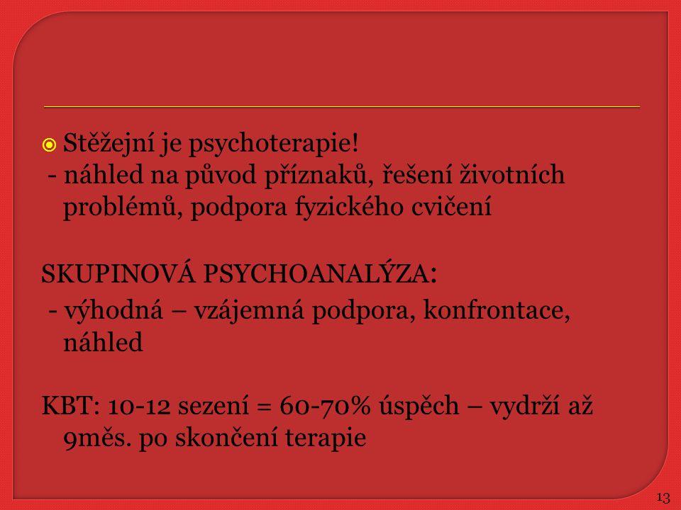  Stěžejní je psychoterapie! - náhled na původ příznaků, řešení životních problémů, podpora fyzického cvičení SKUPINOVÁ PSYCHOANALÝZA : - výhodná – vz