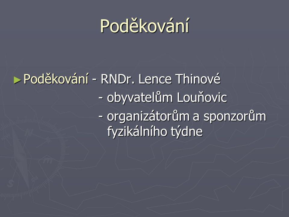 Poděkování ► Poděkování - RNDr. Lence Thinové - obyvatelům Louňovic - obyvatelům Louňovic - organizátorům a sponzorům fyzikálního týdne - organizátorů