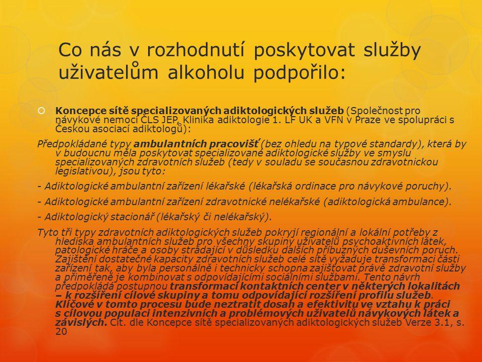 Co nás v rozhodnutí poskytovat služby uživatelům alkoholu podpořilo:  Koncepce sítě specializovaných adiktologických služeb (Společnost pro návykové nemoci ČLS JEP, Klinika adiktologie 1.