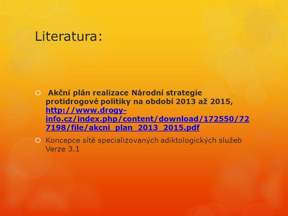 Literatura:  Akční plán realizace Národní strategie protidrogové politiky na období 2013 až 2015, http://www.drogy- info.cz/index.php/content/download/172550/72 7198/file/akcni_plan_2013_2015.pdf http://www.drogy- info.cz/index.php/content/download/172550/72 7198/file/akcni_plan_2013_2015.pdf  Koncepce sítě specializovaných adiktologických služeb Verze 3.1