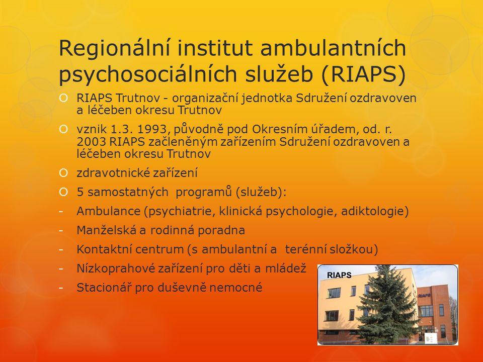 Regionální institut ambulantních psychosociálních služeb (RIAPS)  RIAPS Trutnov - organizační jednotka Sdružení ozdravoven a léčeben okresu Trutnov  vznik 1.3.
