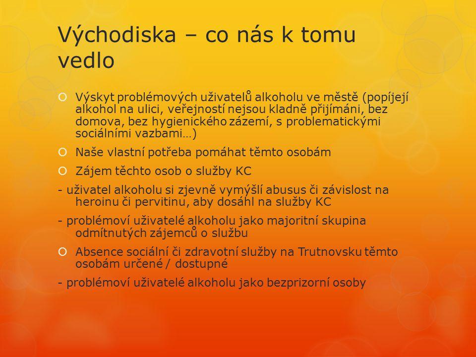 Východiska – co nás k tomu vedlo  Služby pro uživatele alkoholu na Trutnovsku: -1x AT ambulance (Trutnov) -5x psychiatr.