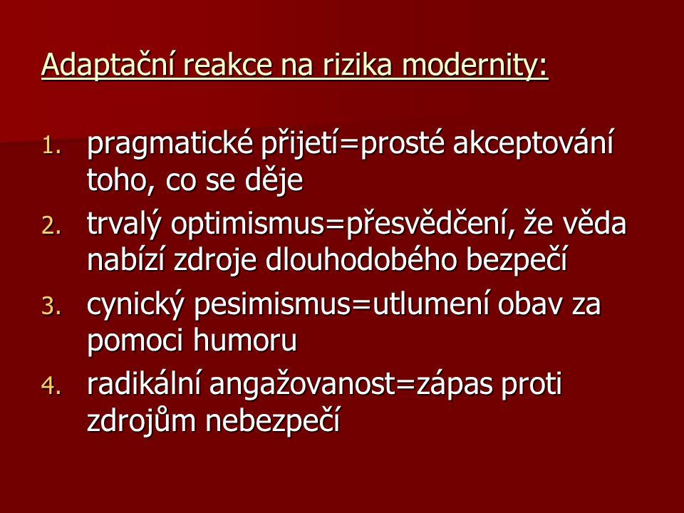 Adaptační reakce na rizika modernity: 1. pragmatické přijetí=prosté akceptování toho, co se děje 2. trvalý optimismus=přesvědčení, že věda nabízí zdro
