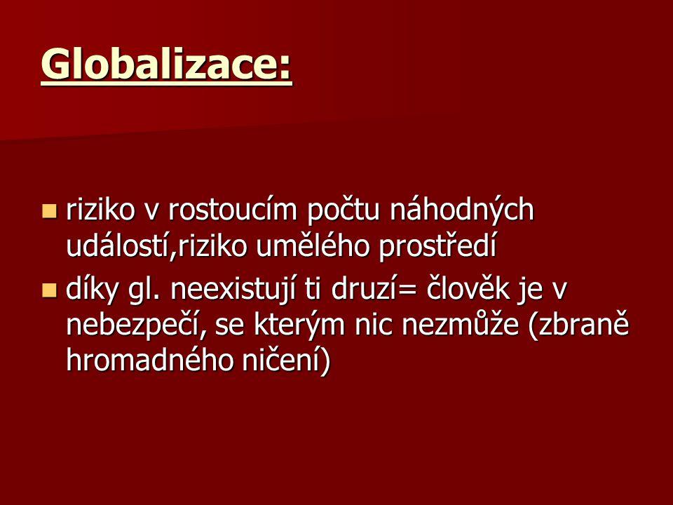 Globalizace: riziko v rostoucím počtu náhodných událostí,riziko umělého prostředí riziko v rostoucím počtu náhodných událostí,riziko umělého prostředí