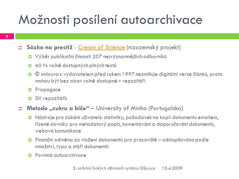 """Možnosti posílení autoarchivace - pokračování  Povinná autoarchivace  Je přirovnávána k imperativu """"publish or perish , který implikuje povinnost autora publikovat v každém případě  ROARMAP : Registry of Open Access Repository Material Archiving Policies ROARMAP 76 registrovaných nařízení (35 institucionálních, 6 fakultních, 35 nadačních – ke dni 13."""