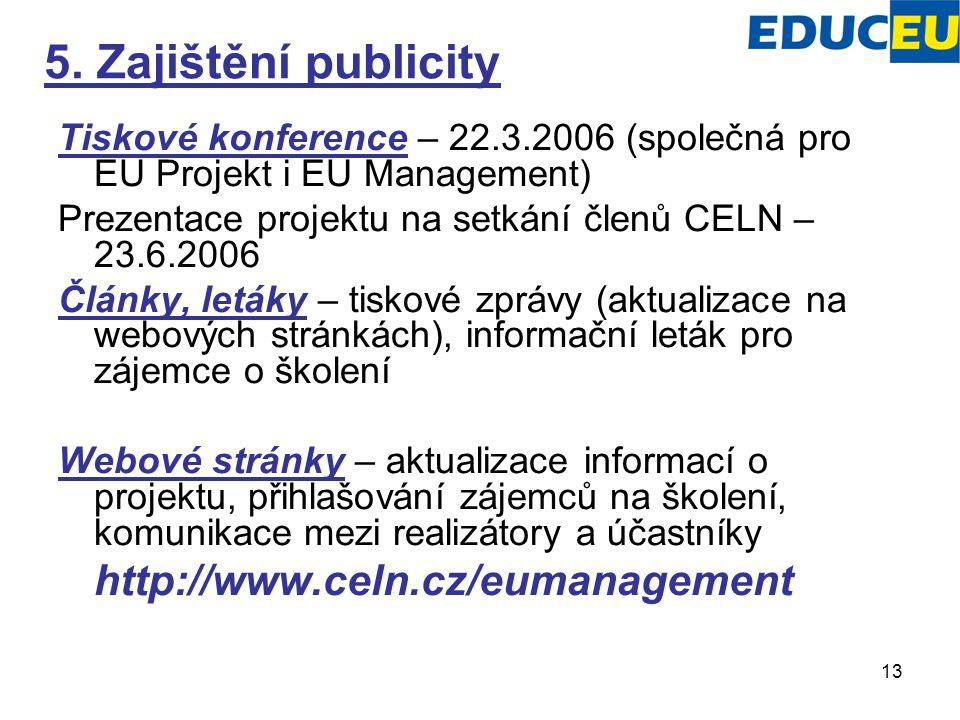 13 5. Zajištění publicity Tiskové konference – 22.3.2006 (společná pro EU Projekt i EU Management) Prezentace projektu na setkání členů CELN – 23.6.20
