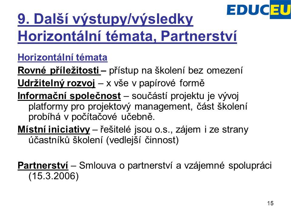 15 9. Další výstupy/výsledky Horizontální témata, Partnerství Horizontální témata Rovné příležitosti – přístup na školení bez omezení Udržitelný rozvo