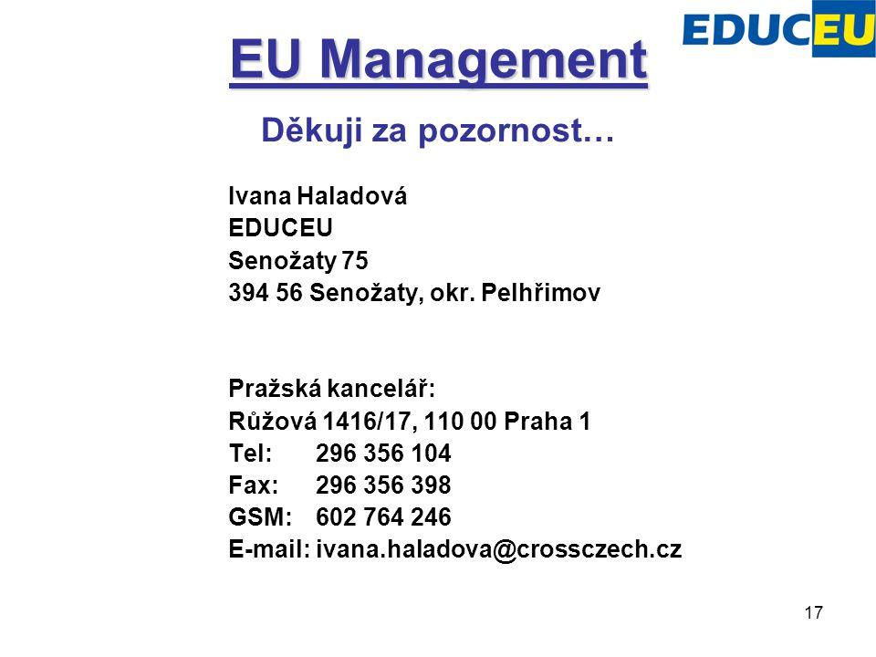17 EU Management Děkuji za pozornost… Ivana Haladová EDUCEU Senožaty 75 394 56 Senožaty, okr. Pelhřimov Pražská kancelář: Růžová 1416/17, 110 00 Praha
