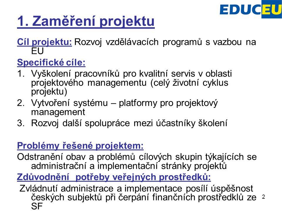 2 1. Zaměření projektu Cíl projektu: Rozvoj vzdělávacích programů s vazbou na EU Specifické cíle: 1.Vyškolení pracovníků pro kvalitní servis v oblasti