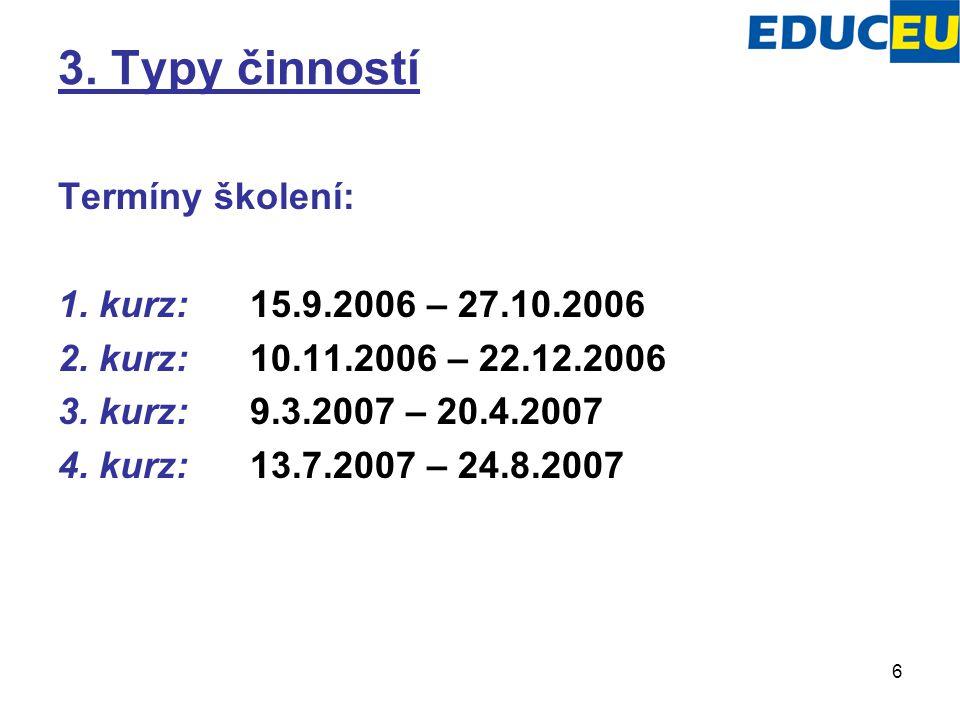 6 3. Typy činností Termíny školení: 1. kurz: 15.9.2006 – 27.10.2006 2.