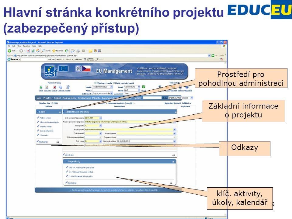 9 Hlavní stránka konkrétního projektu (zabezpečený přístup) Prostředí pro pohodlnou administraci Základní informace o projektu Odkazy klíč. aktivity,