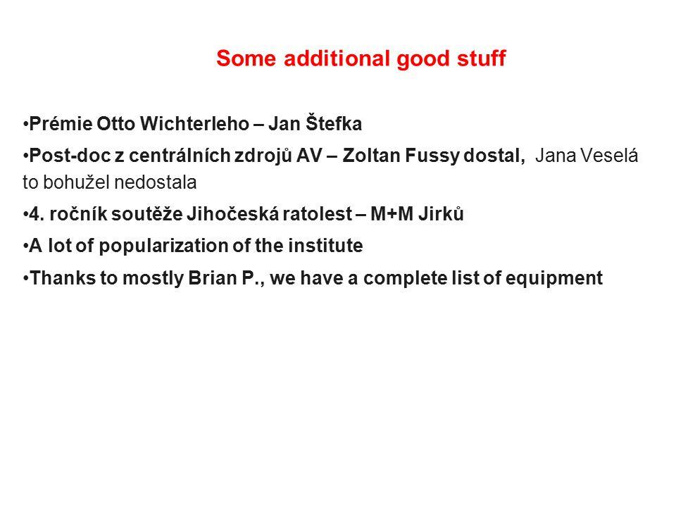 Prémie Otto Wichterleho – Jan Štefka Post-doc z centrálních zdrojů AV – Zoltan Fussy dostal, Jana Veselá to bohužel nedostala 4.