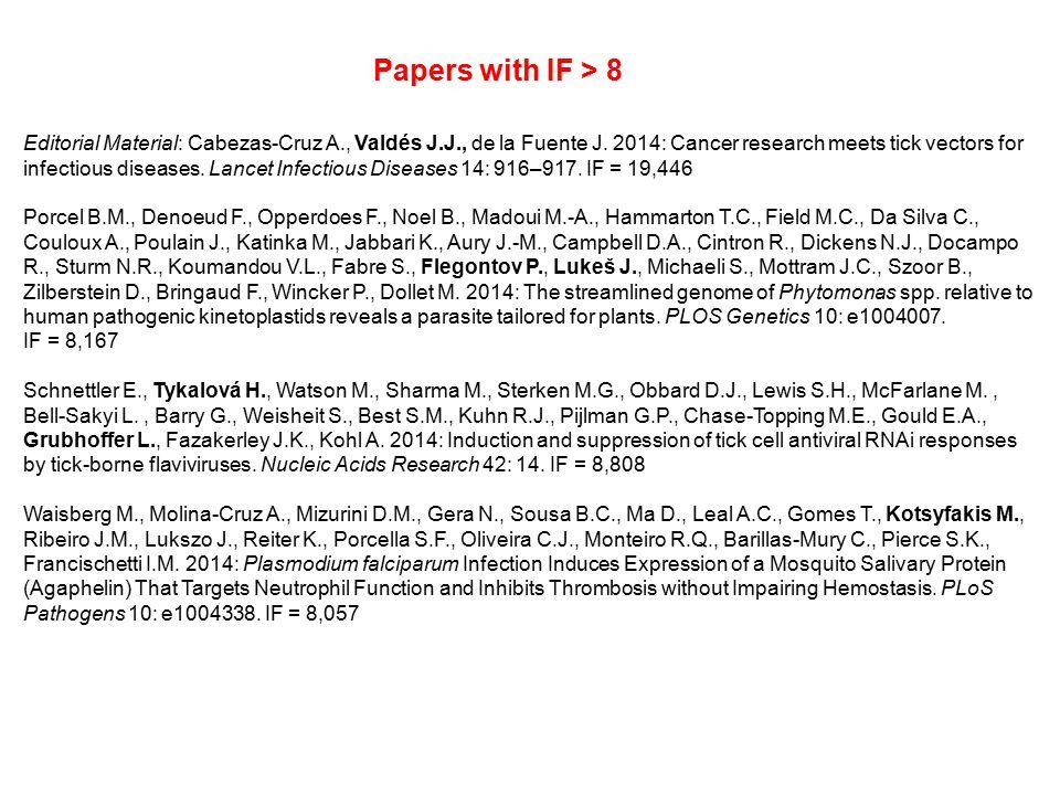 Editorial Material: Cabezas-Cruz A., Valdés J.J., de la Fuente J. 2014: Cancer research meets tick vectors for infectious diseases. Lancet Infectious