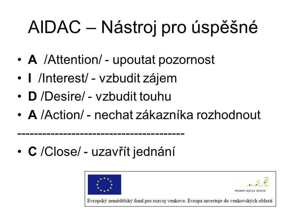 AIDAC – Nástroj pro úspěšné A /Attention/ - upoutat pozornost I /Interest/ - vzbudit zájem D /Desire/ - vzbudit touhu A /Action/ - nechat zákazníka rozhodnout ---------------------------------------- C /Close/ - uzavřít jednání