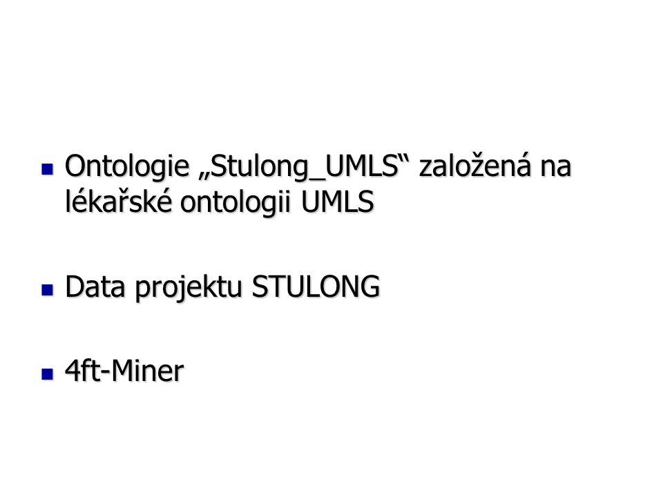 """Ontologie """"Stulong_UMLS založená na lékařské ontologii UMLS Ontologie """"Stulong_UMLS založená na lékařské ontologii UMLS Data projektu STULONG Data projektu STULONG 4ft-Miner 4ft-Miner"""