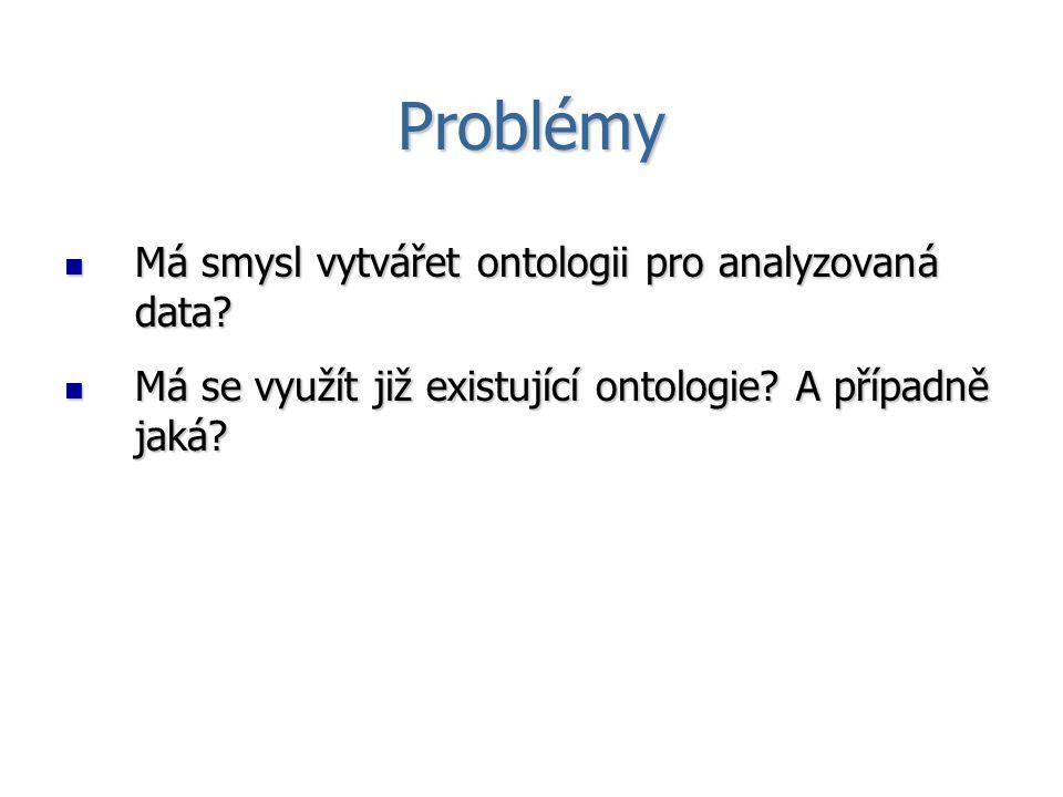 Problémy Má smysl vytvářet ontologii pro analyzovaná data? Má smysl vytvářet ontologii pro analyzovaná data? Má se využít již existující ontologie? A