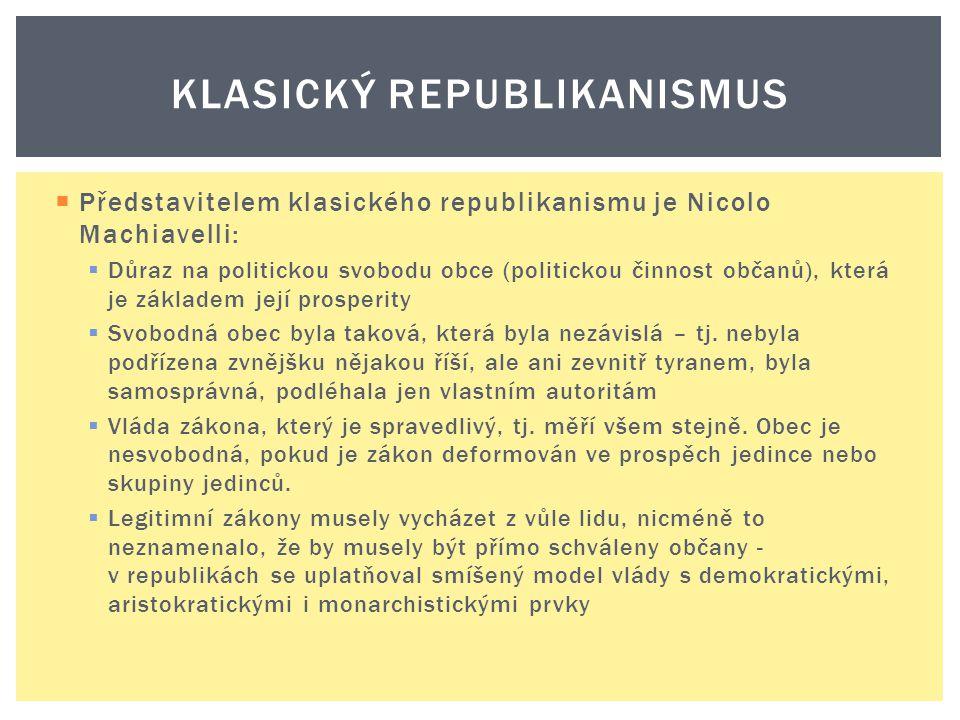  Představitelem klasického republikanismu je Nicolo Machiavelli:  Důraz na politickou svobodu obce (politickou činnost občanů), která je základem je