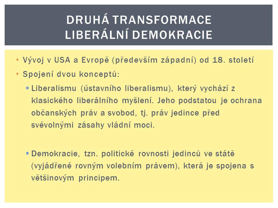Vývoj v USA a Evropě (především západní) od 18. století Spojení dvou konceptů:  Liberalismu (ústavního liberalismu), který vychází z klasického liber