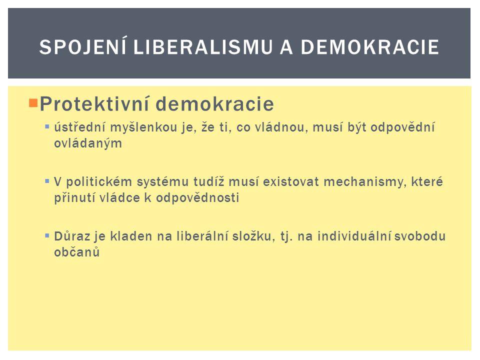  Protektivní demokracie  ústřední myšlenkou je, že ti, co vládnou, musí být odpovědní ovládaným  V politickém systému tudíž musí existovat mechanis