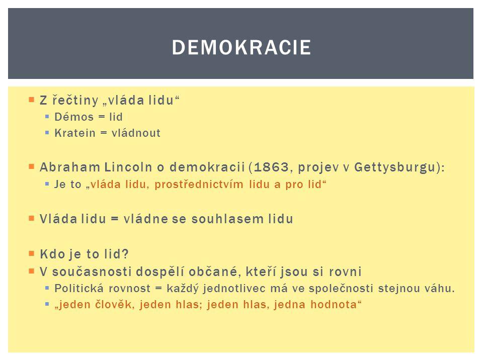 """ Z řečtiny """"vláda lidu""""  Démos = lid  Kratein = vládnout  Abraham Lincoln o demokracii (1863, projev v Gettysburgu):  Je to """"vláda lidu, prostřed"""